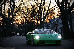 In the sunset (Alex Weber) Tags: lighting street light sunset verde green alex car canon photography lights photo dof shot dusk low wheels fast super headlights spot best iso lp 28 lime ithaca 18 expensive rims 35 sick ever lamborghini find supercar fastest weber murcielago 18mm lambo 640 murci alexweber lp640 18135mm canon7d