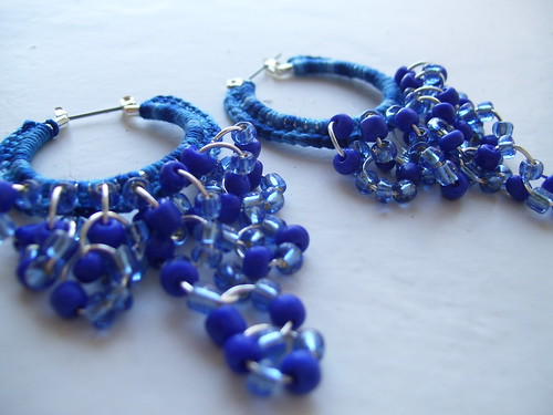 Crocheted blue hoops