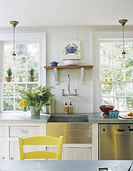 White beachy kitchen: Vintage touches + modern appliances (SarahKaron) Tags: house inspiration newyork beach home kitchen yellow modern vintage design stainlesssteel interior cottage longisland decorating decor beachhouse zinc housebeautiful beadboard yellowchair whitekitchen farmhousesink ruthiesommers