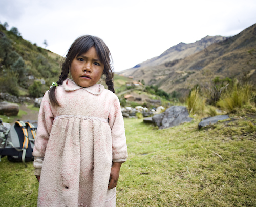 The first day of the Santa Cruz Trek out of Huaraz Ancash Peru. The local children have dirty cloths and runny noses and are lucky, in some ways, to live in a beautiful place like this.