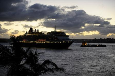 Queen Victoria sailing into the Sydney Harbour by CUNARD