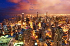 Mini City (kern.justin) Tags: blue summer panorama lake chicago building tower art clouds photography drive miniature high twilight nikon artist photographer dynamic near michigan sears south side 28mm north violet shift mini observatory photograph shore hour tungsten hancock nikkor avenue tilt range ts hdr magnificent willis mile f35 chicagoist photomatix d700 kernjustin wwwthewindypixelcom