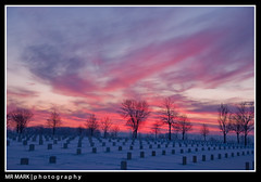 Sunrise at Fort Snelling National Cemetery, Minneapolis, MN (MR MARK | photography) Tags: pink trees snow cemetery minnesota sunrise minneapolis headstones national mn fortsnelling
