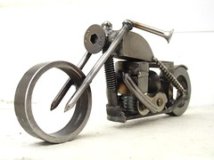 Metal motorcycle sculpture Yamaha chopper