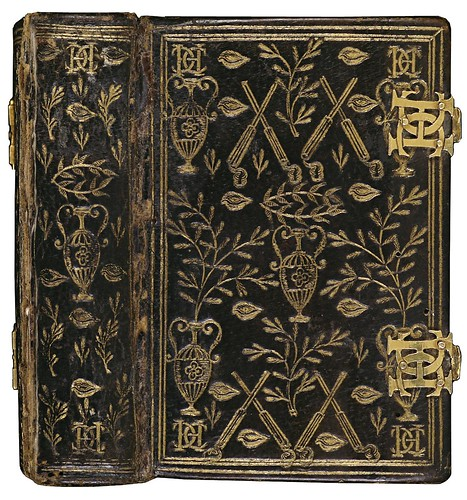 Black morocco leather + plated enamel locks (anon.) 'Book of Hours of Catherine de Medici' 1565