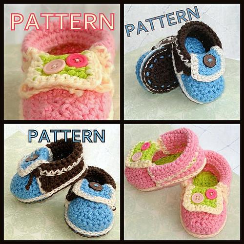 Crochet pattern moccasin baby booties
