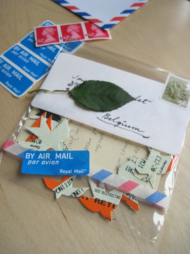 letter with birds and airmail stickers