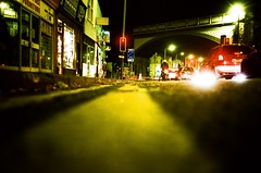 Brakelights... (Trapac) Tags: road uk winter red england urban trafficlights green cars film lines yellow night bristol lights xpro crossprocessed arch kodak streetlights bridges arches olympus slidefilm junction xa2 stop olympusxa2 expired railwaybridge yellowlines brakelights pedestriancrossing expiredfilm gloucesterroad kodakektachrome cyclelane 100iso floorshot wmh cheltenhamroad roll17 ektachromeelite expired1996 kodakektachromeelite gtap21042010