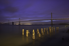 Blueout (maxxsmart) Tags: sanfrancisco california longexposure winter color clouds sunrise canon bay march pier blind unique wideangle special odd cables baybridge embarcadero bayarea lowtide blackout pylons 2010 lightsout ef1740f4l nothingspecial nolights onmywaytowork nofilters singleimage outofmyway nopier 5dmarkii