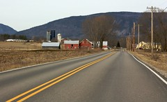 86/365: River Road (Adam Franco) Tags: red mountains vermont unitedstates pavement barns fields farms 365 linearperspective brooksville roadsstreets