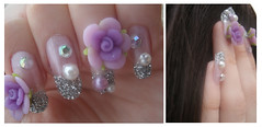 Purple Pretty Nails (Coffee Swirl) Tags: flowers roses cute art rose glitter silver design nice model hands long pretty hand purple finger nail fingers mani pearls nails manicure shape