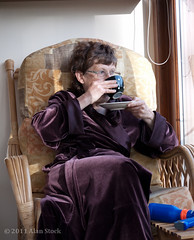 Morning Coffee (Jigsawn) Tags: morning portrait people woman cup coffee breakfast glasses scotland chair sitting fifties looking jean tea drink relaxing drinking velvet athome 50s dressinggown 5060 armchair sipping saucer lookingaway morningcoffee morningtea crosslegged drinkingcoffee drinkingtea breakfasttea lookingoutofwindow