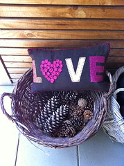 my new cushion (*gele*) Tags: pink brown love word heart o crochet v fabric e l pinecone cushion oneletter