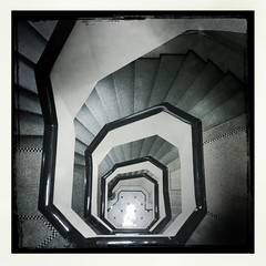 Brussels Metropole hotel Art Deco Stairs  thru Hipstamatic  - Belgium (Eric Lafforgue) Tags: brussels blackandwhite apple architecture stairs town mac europe belgium belgique bruxelles 001 iphone escaliers iphone4 hipstamatic