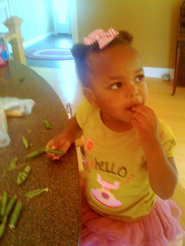 eating fresh peas that she picked in judy's garden