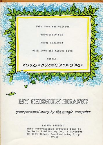 """My Friendly Giraffe"" book - 1970s"