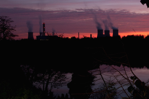 didcot power station at sunset