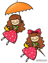 Ezgi Genc (bengi gencer) Tags: cute smile illustration umbrella vintage happy flying ezgi characterdesign ezgigenç lepetityubbie