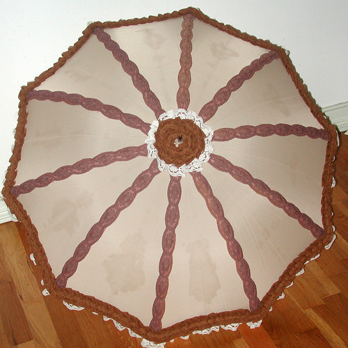 Tan Steampunk Parasol with Brown Trim & Ivory Lace