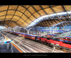 Southern Cross Railway Station, Melbourne :: HDR (Artie | Photography :: I'm a lazy boy :)) Tags: roof station stairs photoshop canon cs2 tripod platform tracks railway australia melbourne wideangle trains curvy victoria southerncross railwaystation spencer 1020mm trams hdr artie 3xp vline sigmalens photomatix tonemapping tonemap 400d rebelxti