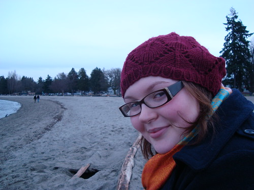 february, at the beach
