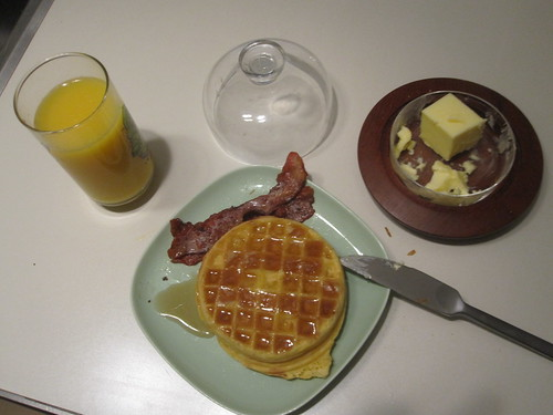 Waffles with bacon and maple syrup, oj