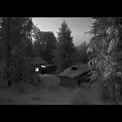 Saturday Sauna (Barry_Madden) Tags: trees winter light bw house snow tree home nature night canon suomi finland evening countryside path scenic talvi 2009 sauna koti lappeenranta 50d canonef24105mmf4lisusm