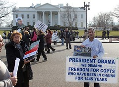 Coptic Christians protest in front of the Whit...