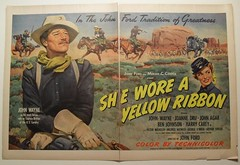 1940s cowboy hollywood 1949 vintage movie poster double page advertisement illustration  JOHN WAYNE She Wore A Yellow Ribbon JOANNE DRU (Christian Montone) Tags: men beautiful actors women cowboy handsome 1940s western movies celebrities goldenage 1949 actresses classichollywood vintagehollywood classiccinema vintagemovies sheworeayellowribbon