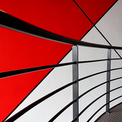 railing (Plutone (NL)) Tags: red white abstract lines square theater curves denhaag diagonal rood wit terras zolder philipszaal danstheater