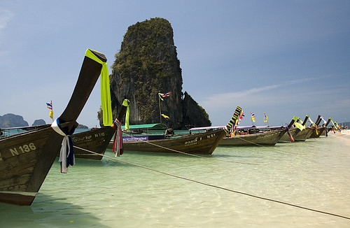 Longtail boats at Phra Nang Beach