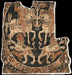 "Shroud of St Austremoine of Mozac, 8th or 10th-12thc, Lyons Textile Museum. Also known as the ""Tissu de Mozac"" (julianna.lees) Tags: ancient silk shroud textiles sassanian doubleheaded sassanid suaire"