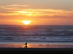 Beach Runner (beamjack) Tags: sanfrancisco sunset places oceanbeach dpssilhouettes