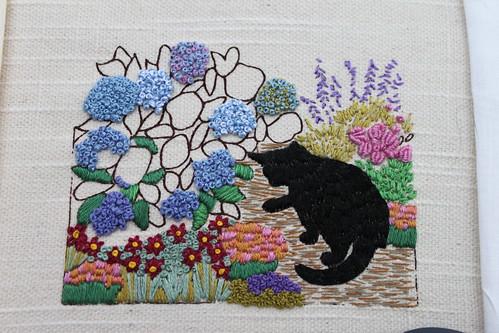 Cat by the Hydrangea Bush - Progress 3-16-10