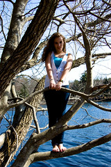 In The Trees (NEW|photography) Tags: trees portrait sky water girl ma outside spring pond model massachusetts newengland jeans denim brunette mass bridgewater carverspond