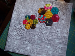 pillow case (joontoons) Tags: handmade sewing quilting hexagons pillowcase applique florafauna paperpiecing freemotionquilting pattyyoung joontoons pillowtalkswap