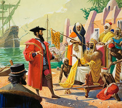 Vasco da Gama in Kenya (cool-art) Tags: black portugal war king ship kenya african military muslim negro da sultan states exploration imperialism vasco chiefs malindi headdress gama calicut