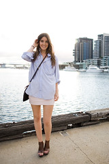 The last of summer - LMFF (xssat) Tags: girls summer fashion hipsters young australia melbourne womens clothes trendy styles bracelets females hip simple relaxed miniskirt breezy leggy streetfashion fashionable pinkskirt whitedress summery streetstyle necklance lmff blackshoulderbag oversizedshirt brownbooties bluestripshirt lorealmelbournefashionweek peeptoewedges whiteshortdress beigeankleboots brownpeeptoeshoes beigelaceupbooties wovenshoulderbag