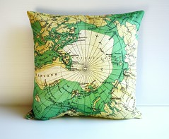 Arctic Circle (cath @ chunkychooky) Tags: map handmade maps craft pillow cotton cartography atlas cushion homedecor organiccotton cushioncover vintagemaps