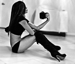 gritty girl 4 (nikkidelmont) Tags: portrait bw girl self mirror nikon sensual stilettos nikkidelmont
