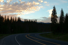 The Winding Mountain Road at Sunset (Jim Emery) Tags: sunset west highway curves western wyoming roads landsapes landcape
