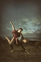 Birnbeck (modulationmike) Tags: dance hold beach coastal mele female ballet skies clouds mood vintage atmospheric gress skirt tights sand rocks sexy legs