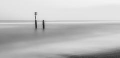 Groyne marker mono, Southwold beach, Suffolk (NikonMick) Tags: suffolk groyne marker mono black white big stopper long exposure
