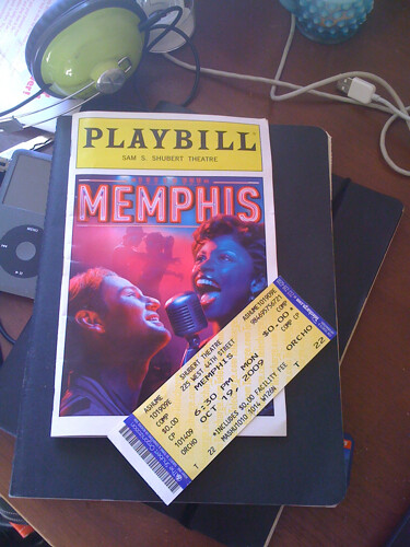 Playbill and Ticket from Memphis the Musical