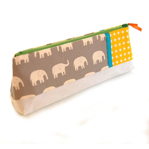 Zipper pouch with elephants on gray by Jennifer Ladd handmade.