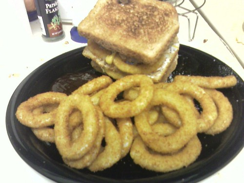Double Turkey Burger with Onion Rings