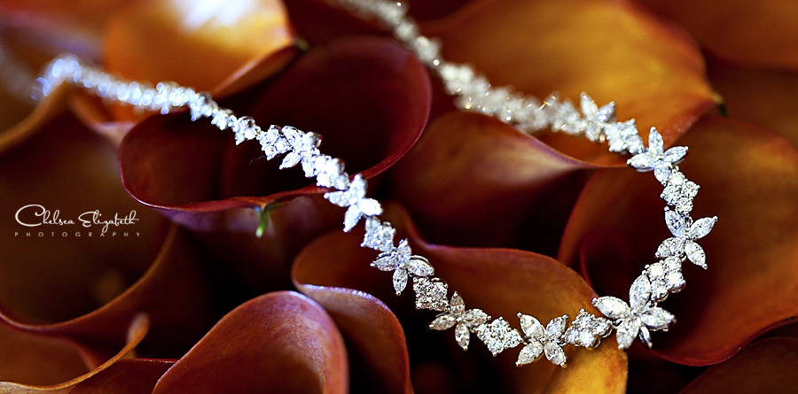 Calla lilies lily burnt orange diamond necklace bride picture