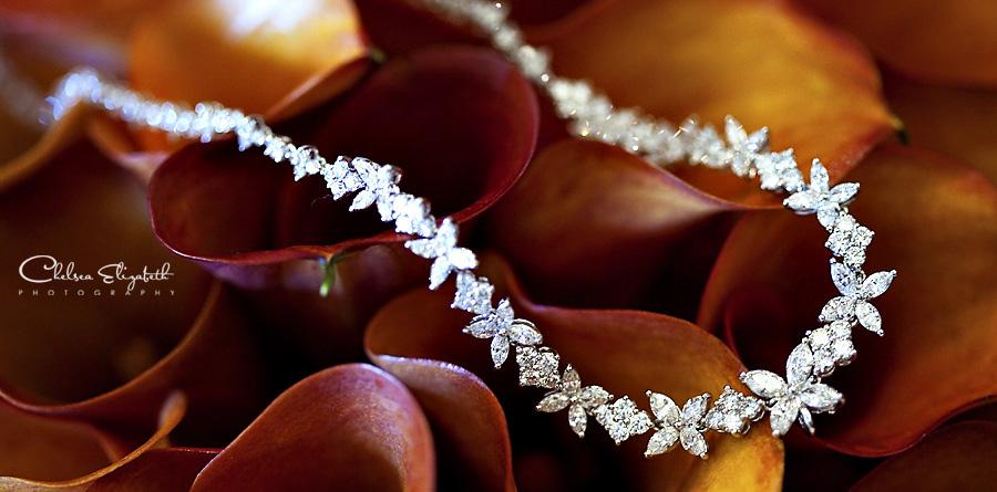 Calla lilies lily burnt orange diamond necklace bride picture