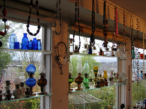 Glass bottles, beads, lamps