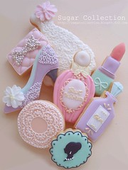birthday cookies (JILL's Sugar Collection) Tags: birthday girl cookies shoe foods perfume dress decoration sugar icing cameo piping lipsticks foodcolor lacework royalicing sugarcraft